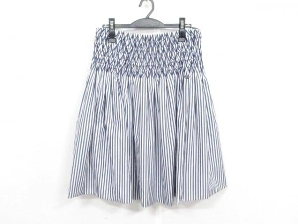 CHANEL(シャネル) スカート サイズ40 M レディース美品  P60279 白×ネイビー