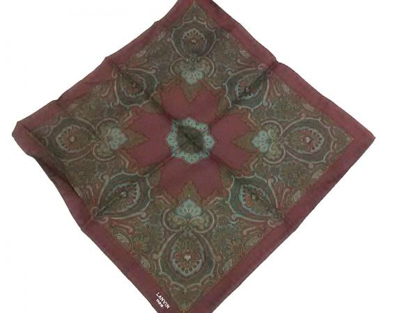 LANVIN(ランバン) スカーフ美品  ダークブラウン×グリーン×マルチ ミニサイズ