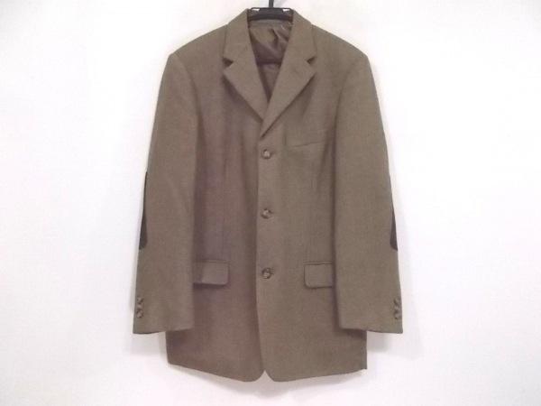 ゼニア ジャケット サイズ50 メンズ新品同様  ベージュ×ダークブラウン カシミヤ混
