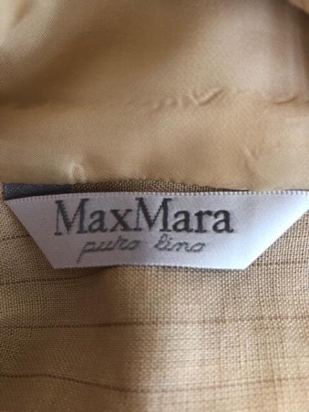 マックスマーラ スカートスーツ レディース ベージュ×ブラウン リネン/ストライプ