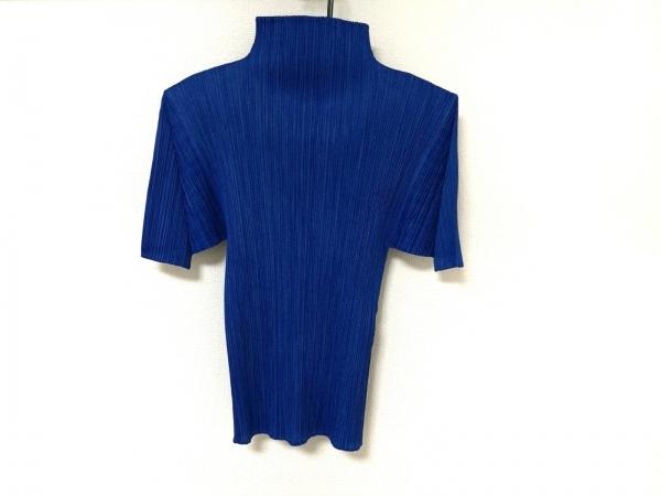 PLEATS PLEASE(プリーツプリーズ) 半袖セーター レディース美品  ブルー プリーツ