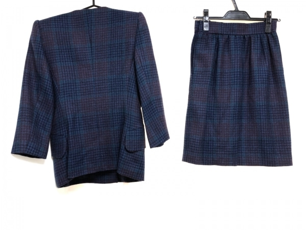 イヴサンローラン スカートスーツ レディース ネイビー×ボルドー×ライトグリーン