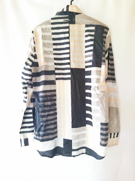 ゴルチエ 長袖シャツ サイズ48 XL メンズ ライトグレー×黒×ピンク ボーダー