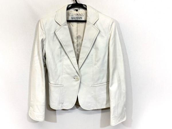 BALMAIN(バルマン) ジャケット サイズ9 M レディース 白 レザー