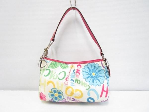 COACH(コーチ) ハンドバッグ - - 白×ピンク×マルチ ナイロン×エナメル(レザー)