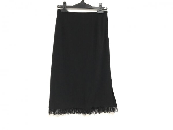 LEONARD(レオナール) スカート サイズ67 レディース美品  黒 ビーズ/フリンジ