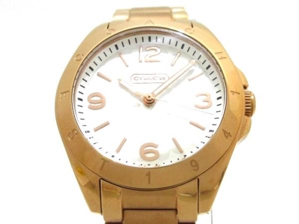 コーチ 腕時計美品  ミニシグネチャー柄 CA.67.7.34.0691 レディース シルバー×白