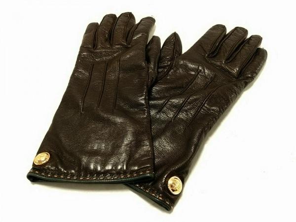 COACH(コーチ) 手袋 レディース ダークブラウン レザー