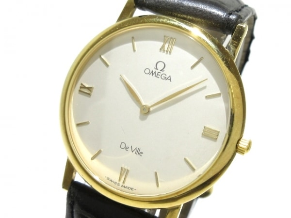 OMEGA(オメガ) 腕時計 デビル - メンズ K18YG/社外ベルト 白
