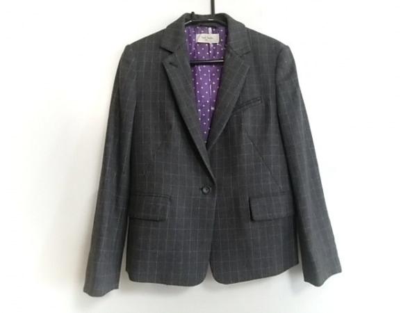 ポールスミス ジャケット サイズ38 L レディース美品  グレー×ピンク チェック柄