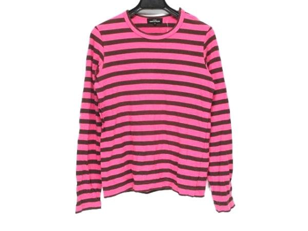 トリココムデギャルソン 長袖Tシャツ サイズS レディース ピンク×ブラウン ボーダー