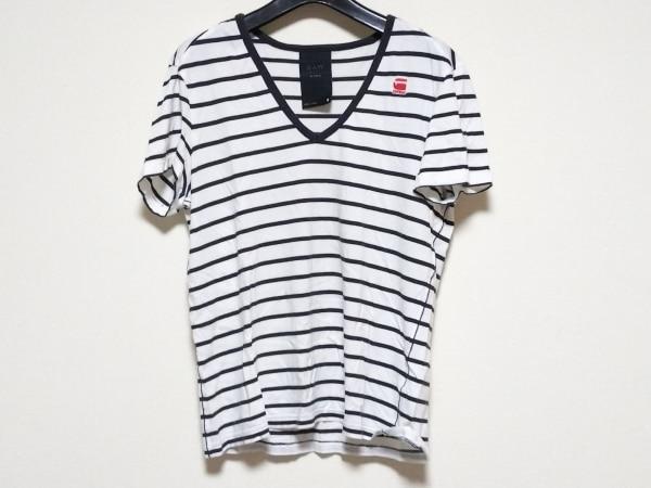 ジースターロゥ 半袖Tシャツ サイズS レディース 白×黒 Vネック/ボーダー