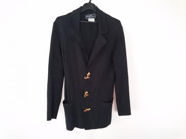 サルバトーレフェラガモ ジャケット サイズ46 L レディース 黒 ニット