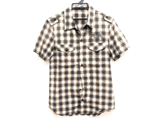 ロアー 半袖シャツ サイズ2 M メンズ ダークネイビー×オレンジ×マルチ チェック柄