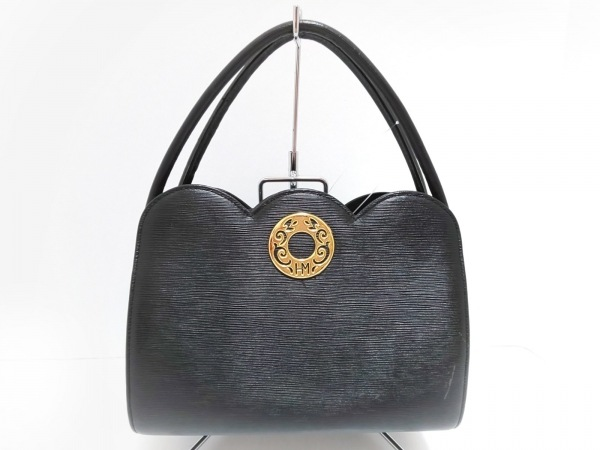 HANAE MORI(ハナエモリ) ハンドバッグ 黒×ゴールド レザー×金属素材