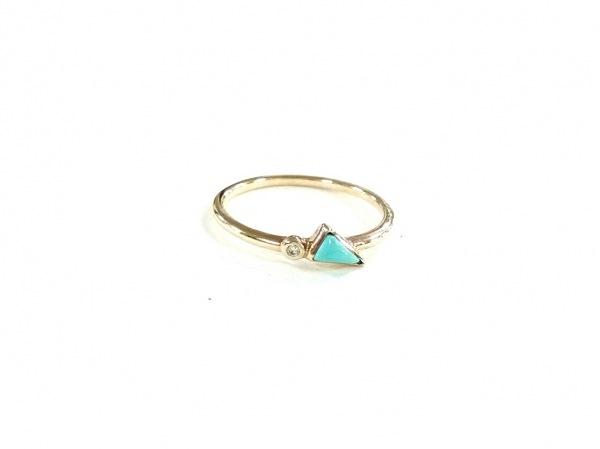 アガット リング美品  K10×ダイヤモンド×カラーストーン エメラルドグリーン 0.01ct