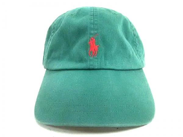 ポロラルフローレン キャップ ONE SIZE グリーン×レッド 刺繍 コットン