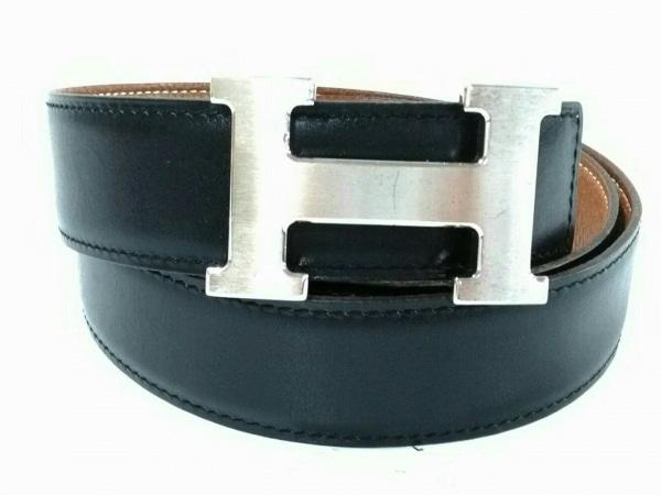 HERMES(エルメス) ベルト 80美品  黒×シルバー リバーシブル/新型/シルバー金具