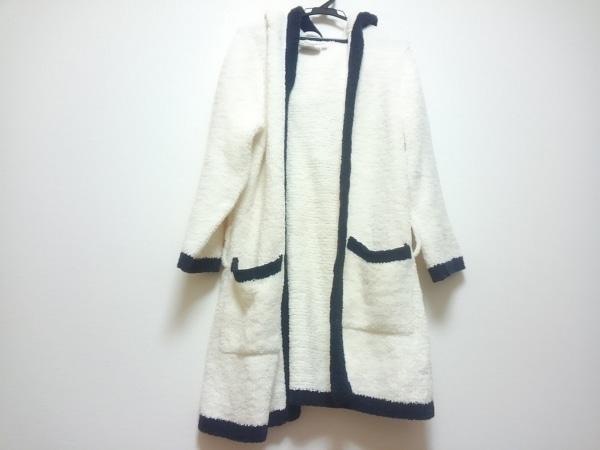 KASHWERE(カシウエア) カーディガン レディース 白×ネイビー ロング丈