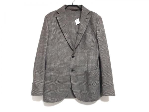 エルビーエム1911 ジャケット サイズ50 メンズ ベージュ×ダークブラウン チェック柄