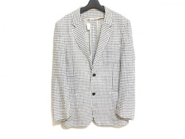 パスカルドンキーノ ジャケット メンズ 白×ダークネイビー チェック柄