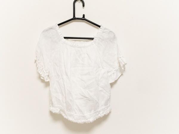 120%lino(リノ) 半袖シャツブラウス サイズ40 M レディース 白 麻/ショート丈