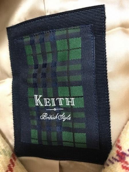 KEITH(キース) コート サイズ38 M レディース美品  ベージュ×マルチ 冬物/チェック柄