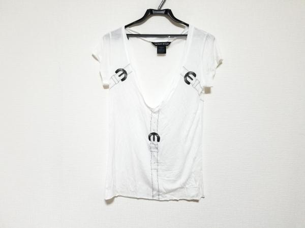 トーマスワイルド 半袖カットソー サイズXS レディース美品  白×黒 ラインストーン
