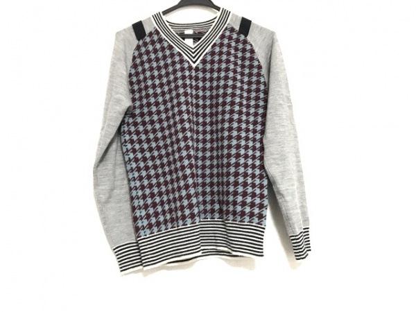 スワンレイク 長袖セーター サイズF レディース美品  ライトブルー×ボルドー×マルチ