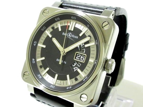 ベルアンドロス 腕時計美品  グランドデイト BR0396-SI-ST メンズ SS/革ベルト