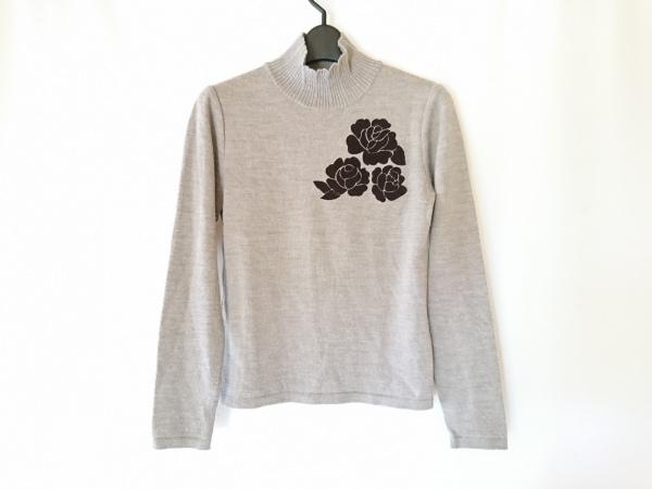 インゲボルグ 長袖セーター サイズ9 M レディース ベージュ×黒 フラワー/ハイネック