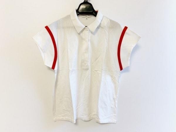 クリスチャンディオールスポーツ 半袖ポロシャツ サイズM レディース 白×レッド