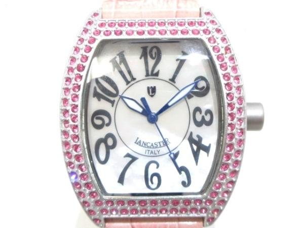 ランカスター 腕時計 REF.0248 レディース 革ベルト/シェル文字盤/ラインストーン 白