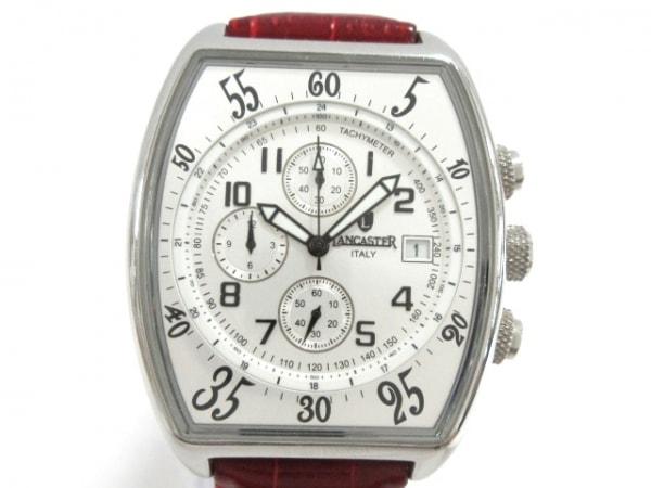 ランカスター 腕時計 0258 メンズ 革ベルト/型押し加工/クロノグラフ シルバー