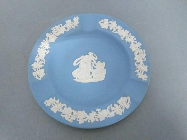 WEDG WOOD(ウェッジウッド) 小物美品  ジャスパー ブルー×白 灰皿 陶器
