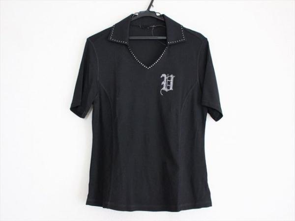 バレンザスポーツ 半袖カットソー サイズ38 M レディース美品  黒 ラインストーン