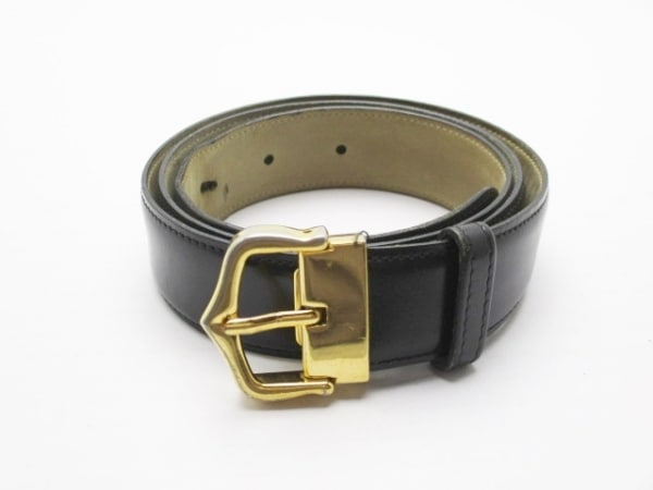 Cartier(カルティエ) ベルト 黒×ゴールド レザー×金属素材