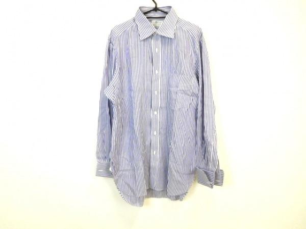 BORRELLI(ボレリ) 長袖シャツ サイズ16 メンズ 白×ネイビー ストライプ