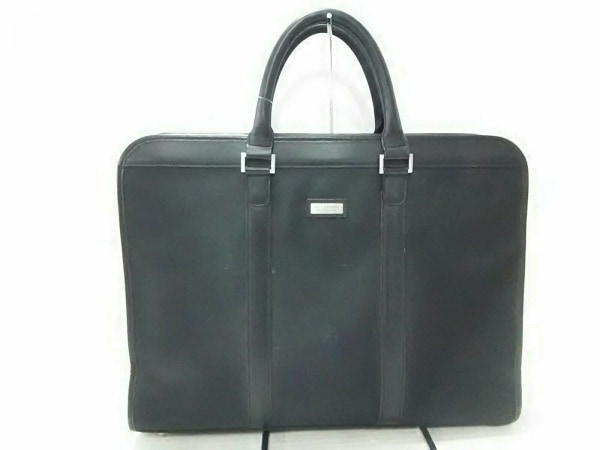 バーバリーブラックレーベル ビジネスバッグ 黒×白×ブルー チェック柄