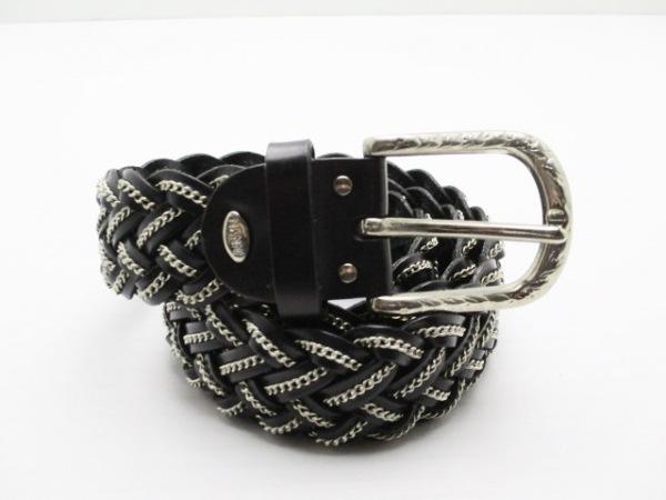 NANNI(ナンニ) ベルト 80/32 黒×シルバー 編み込み レザー×金属素材