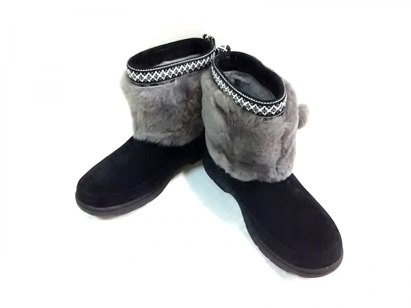 UGG(アグ) ショートブーツ レディース 1012999 黒×グレー 刺繍/WATERPROOF