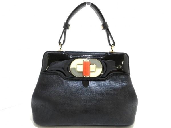ブルガリ ハンドバッグ美品  イザベラ・ロッセリーニ 黒×アイボリー×マルチ