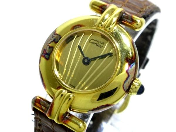 カルティエ 腕時計 マストコリゼヴェルメイユ - レディース 革ベルト/925 ゴールド