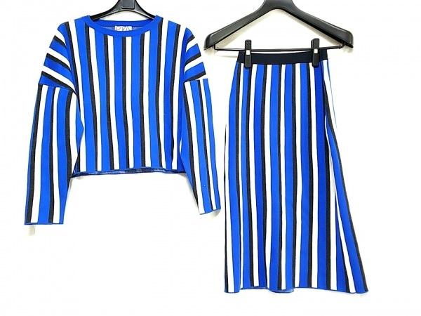 plumpynuts(プランピーナッツ) スカートセットアップ レディース美品  ブルー×黒×白