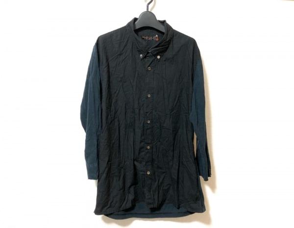 アンダーカバイズム 七分袖シャツ サイズ3 L メンズ 黒×ダークネイビー