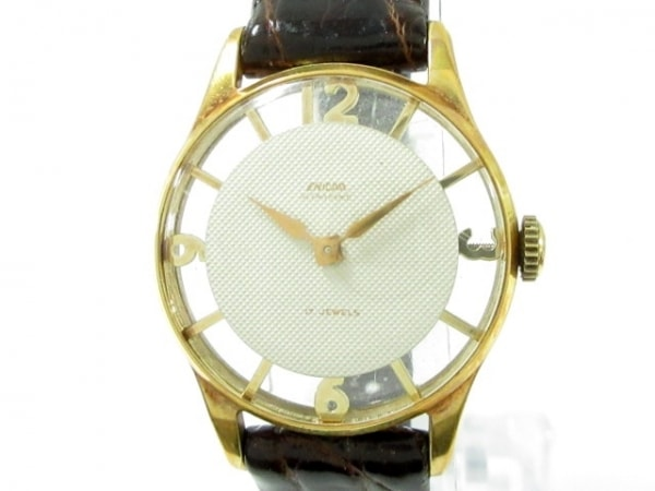 ENICAR(エニカ) 腕時計 17JEWELS レディース 革ベルト/型押し加工/裏スケ