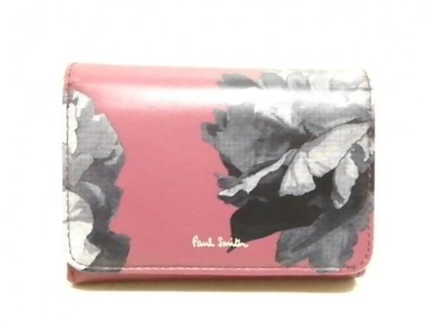 PaulSmith(ポールスミス) 2つ折り財布 ボルドー×ダークグレー×グレー 花柄 レザー
