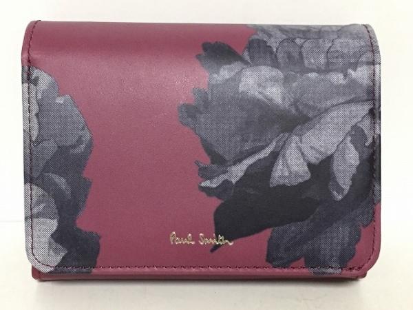 ポールスミス 2つ折り財布美品  ボルドー×グレー×ダークグレー 花柄 レザー
