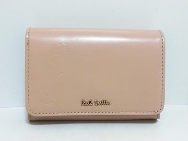 PaulSmith(ポールスミス) 2つ折り財布 ベージュ 型押し加工 エナメル(レザー)