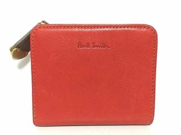 PaulSmith(ポールスミス) 2つ折り財布 レッド×グレージュ ハート レザー